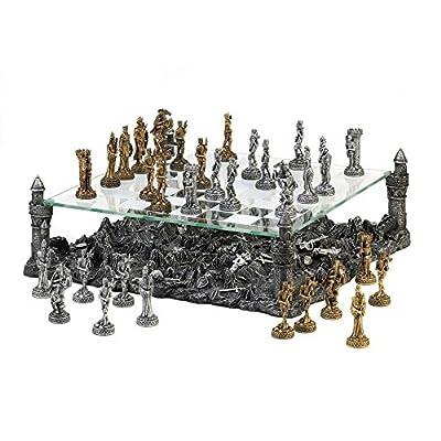 Chess Table Set, Dark Battleground Modern Medieval War Game Chess Set Large