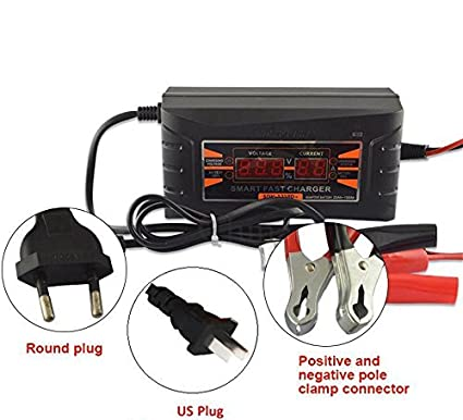 Full Automatic Car Battery Charger 110V/220V To 12V 6A 10A Smart Fast Power  Charging For Wet Dry Lead Acid Digital LCD Display(Black)