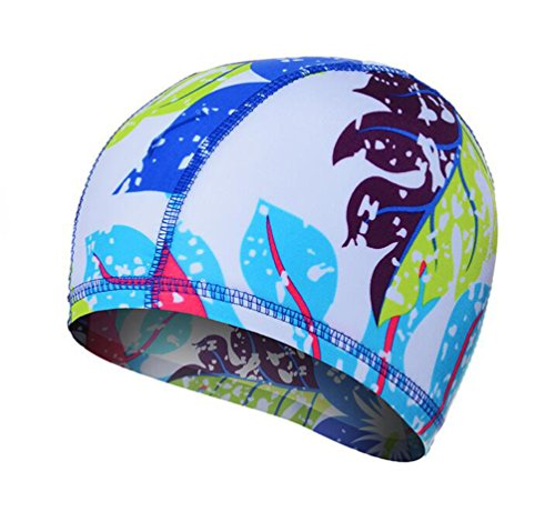lor Lycra Swim Caps for Long Hair Pleated Cloth Swimming Cap Bathing Hat for Adult Men and Women(#13) ()