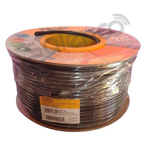 Televes 212701, Cable Coaxial Acero-Cobre CXT1, Negro, PVC (Bobina Madera 100 m): Amazon.es: Electrónica