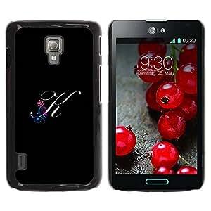 Paccase / SLIM PC / Aliminium Casa Carcasa Funda Case Cover para - Black Initials Letter Calligraphy Text - LG Optimus L7 II P710 / L7X P714