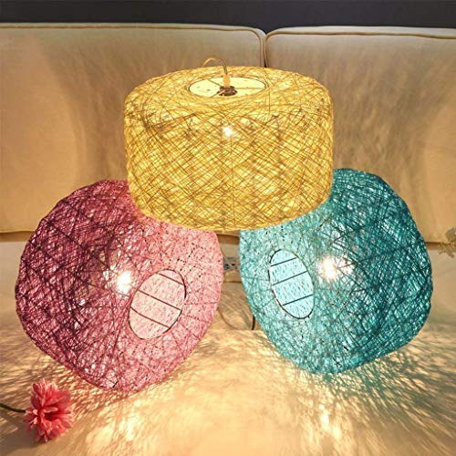 XQY Household Chandeliers, Cafe Bar Restaurant Decorated with Chandeliers, Colored Rattan Art Woven Chandelier Creative Living Room Balcony Restaurant Personality Bedroom Ceiling Light Lamp,Blue-Dia