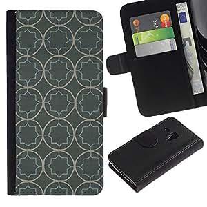 KingStore / Leather Etui en cuir / Samsung Galaxy S3 MINI 8190 / Modelo del papel pintado rústico Gris Gris
