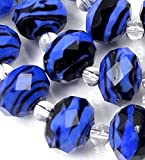 Czech glass Faceted Rondelle Beads - Sapphire black Swirl