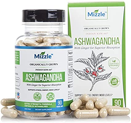 Organic Ashwagandha Root Powder Extract - with Ginger for Premium  Absorption - Double Strength 5% Withanolides KSM66 - for Stress, Anxiety,  Energy,
