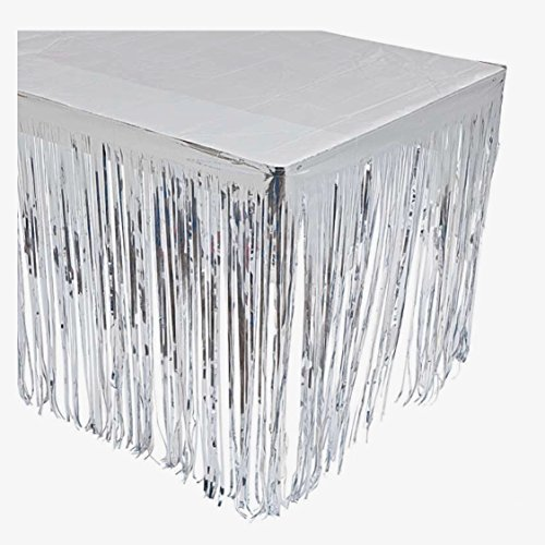 GIFTEXPRESS 2 Pack Silver Metallic Foil Fringe Table Skirt/Tinsel Foil Table Skirt/Party Table Skirt (Silver, 2-pack)