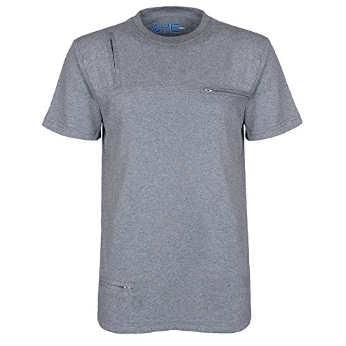 AyeGear T5 Tshirt with 5 Discreet Pockets, Premium Quality, Ultra Soft Touch Feel, Sports and Travel Tshirt, Grey XL