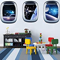 "ITTA Set of 3 Space Capsule Window Wall Sticker 3D Astronaut Outer Space Mural Wall Decals for Bedroom Living Room Kids Room Home Decor(Each pcs: 23"" x 17"")"