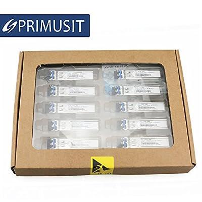 PRIMUSIT 10 Pack 100% Compatible for Cisco GLC-LH-SMD/GLC-LH-SM/SFP-GE-L, Gigabit SFP Transceiver, 1000Base-LX/LH, SMF, 1310nm, 10km