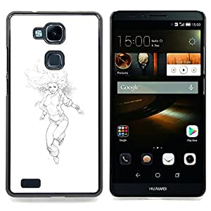 - Woman Boobs Running Pencil Drawing Art - - Snap-On Rugged Hard Cover Case Funny HouseFOR HUAWEI Ascend Mate 7
