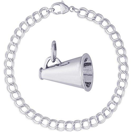 - Rembrandt Charms Sterling Silver Megaphone Charm on a Double Link Bracelet, 8