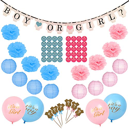 Gender Reveal Party Supplies (99 Pieces) Baby Shower Decorations Set with Bonus Including Cupcake Topper Special Banner Gender Reveal Balloons Paper Flowers Paper Lanterns & Free Sticker