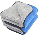 KinHwa Microfibre Car Cleaning Towels Ultra Thick Plush Car Drying Towels Super Absorbent Car Wash Cloths Scratch Free 720gsm 40cm x 60cm 2 Pack Blue/Grey