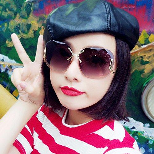 Estados Gafas Gafas Textura Y Mujer De Los Gris Sol Verano Cara LIZHIQIANG Unidos De De Sol Cuadrados Tendencia Gris Europa Redonda Color qtY6Pxg
