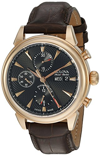Bulova Men's 'Gemini' Swiss Automatic Stainless Steel and Brown Leather Casual Watch (Model: 64C105)
