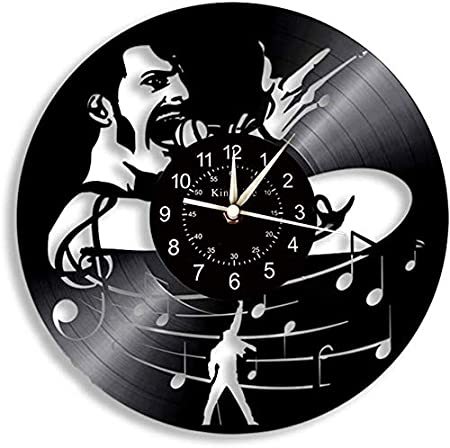 12 Pouces Horloge Murale de Disque Vinyle Vinyle r/étro Rock Kiss Band Horloge Murale nostalgique cr/éative Steampunk muette