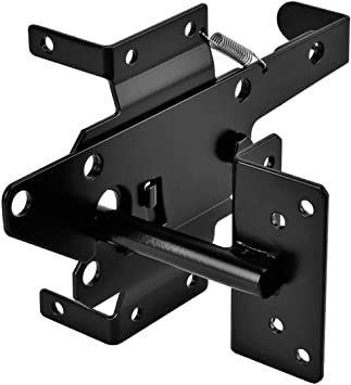 AUTOMATIC GATE LATCH BLACK GARDEN YARD SHED DOOR LOCKING SYSTEM INCLUDING SREWS