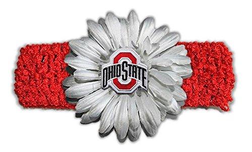 NCAA Ohio State Buckeyes女の子かぎ針編みフラワーヘッドバンド、1サイズ、レッド/グレー   B01BWITPT0