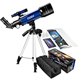 CSSEA 70mm Telescope for Kids and Astronomy Beginners, Travel Scope with Adjustable Tripod & Finder Scope & Two Eyepieces(K25mm & K10mm)-Perfect for Children Educational and Gift (A)