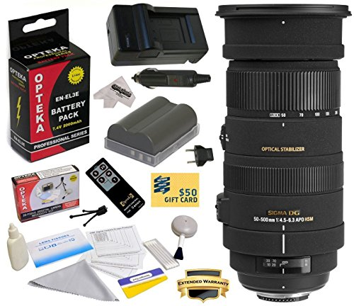 - Sigma 50-500mm f/4.5-6.3 APO DG OS HSM Lens (738306) With 3 Year Extended Lens Warranty for the Nikon D700 D300S D300 D200 D100 D90 D80 D70 D70s D50 DSLR Camera Includes - Replacement Battery Pack for the Nikon EN-EL3E 2000MAH + 1 Hour AC/DC Battery Charger + Deluxe Lens Cleaning Kit + LCD Screen Protectors + Wireless Shutter Release Remote Control + Mini Tripod + 47stphoto Microfiber Cloth + $50 Photo Print Gift Card!
