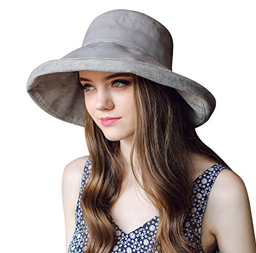 Comhats Womens UPF 50 Bucket Sun Hat Packable Beach Hat Wide Brim Sunhat Adjustable