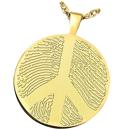 Fingerprint Memorial Jewelry: 14K Solid Yellow Gold Round Charm-Peace Sign + Text Engraving