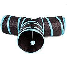 Pet Cat Tunnel Collapsible 3 Way Play Toy With Crinkle Peep Hole Design for Cat Dog Rabbit and Other Small House Animals