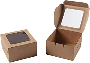 Kraft Paper Bakery Boxes - 50-Pack Single Pastry Box 4-Inch, Packaging with Clear Display Window, Donut, Mini Cake, Pie Slice, Dessert Disposable Take-Out Container, Brown, 4 x 2.3 x 4 Inches