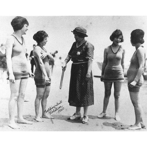 Quality digital print of a vintage photograph - Bathing suit violations 1920.. Black & White 11x14 inches - Matte ()