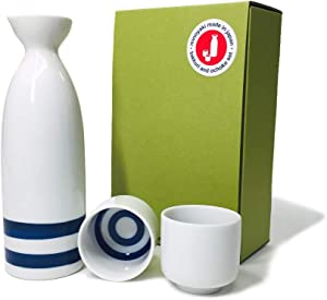 Japanese Minoyaki Janome Sake set, 8 oz sake bottle and 2 sake cup, Sake Tokkuri with Ochoko, for Kiki-zake Traditional Mino-Yaki ware