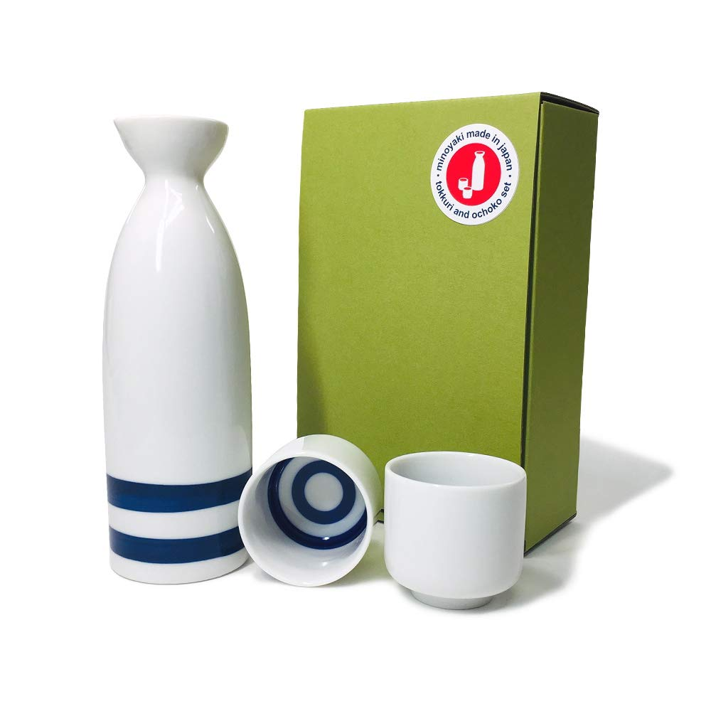 Japanese Minoyaki Janome Sake set, 8 oz sake bottle and 2 sake cup | Sake Tokkuri with Ochoko, for''Kiki-zake'' Traditional Mino-Yaki ware by Verve Joy