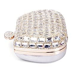 ECOSUSI Womens Dazzling Rhinestone Clutch Evening Bags Fashion Purse Girl\'s Handbags Silver