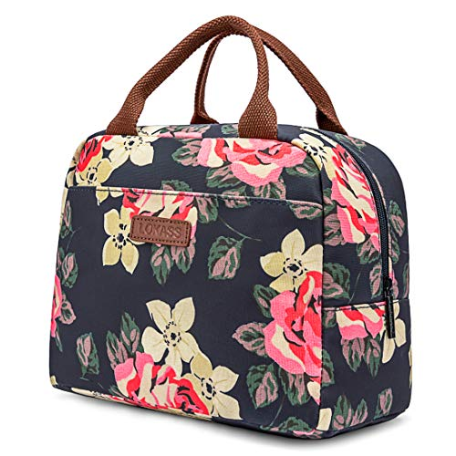 LOKASS Lunch Bag Cooler Bag Women Tote Bag Insulated Lunch Box Water-resistant Thermal Lunch Bag Soft Liner Lunch Bags for women/Picnic/Boating/Beach/Fishing/Work (Peony) (Black Thermal Spade)