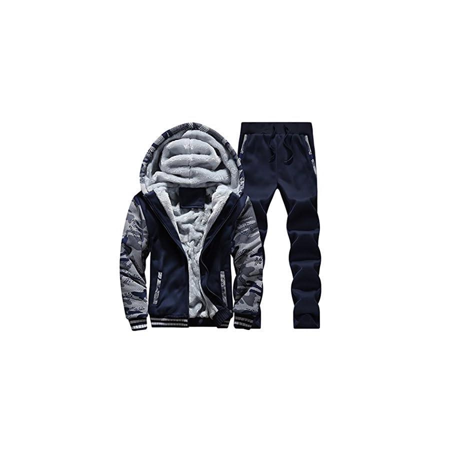 Sun Lorence Men's Winter Fleece Lined Hoodies Sweat Suit Camo Thicken Tracksuit Set