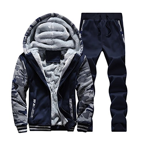 Sun Lorence Men's Winter Fleece Lined Hoodies Sweat Suit Camo Thicken Tracksuit Set