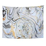 paint colors for living rooms Emvency Tapestry Watercolor Abstract Marbling Ink Hand Acrylic Black White Gold Silver and Gray Colors Artwork Water Paint Home Decor Wall Hanging for Living Room Bedroom Dorm 60x80 inches