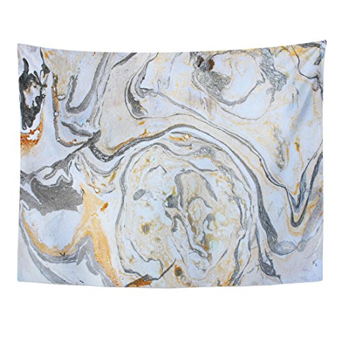 Emvency Tapestry Watercolor Abstract Marbling Ink Hand Acrylic Black White Gold Silver and Gray Colors Artwork Water Paint Home Decor Wall Hanging for Living Room Bedroom Dorm 60x80 inches