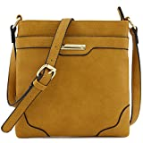 Women's Medium Size Solid Modern Classic Crossbody Bag with Gold Plate (Dark Mustard)