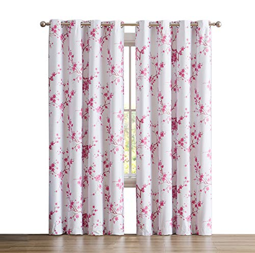 """HLC.ME Jasmine Floral Faux Silk 100% Blackout Room Darkening Thermal Insulated Curtain Grommet Panels For Bedroom - Energy Efficient, Complete Darkness, Noise Reducing - Set of 2 (Pink, 52"""" W x 96"""" L)"""
