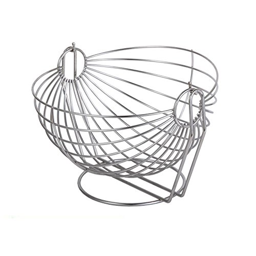 Stainless Steel Fruit Vegetable Snack Swinging Basket Holder Bowl Container Silver Tone