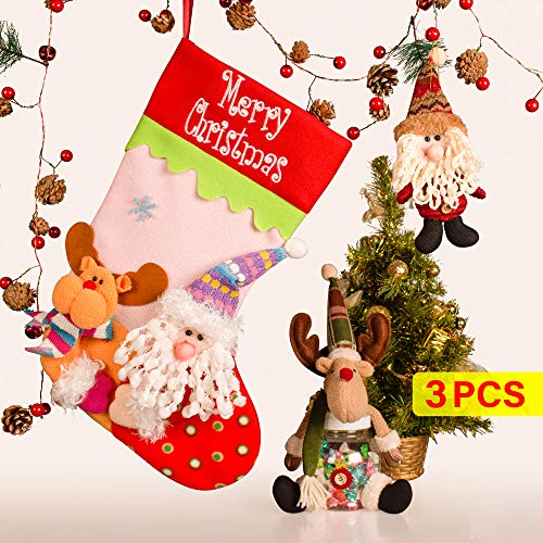 Ncknciz Christmas Stockings Set, Large Christmas Stockings for Xmas Decorations, 3pcs: 3D Classic Hanging 18'' Santa Stocking, Reindeer Candy Boxes and Doll Gifts for Kids, Tree and Mantel Ornament