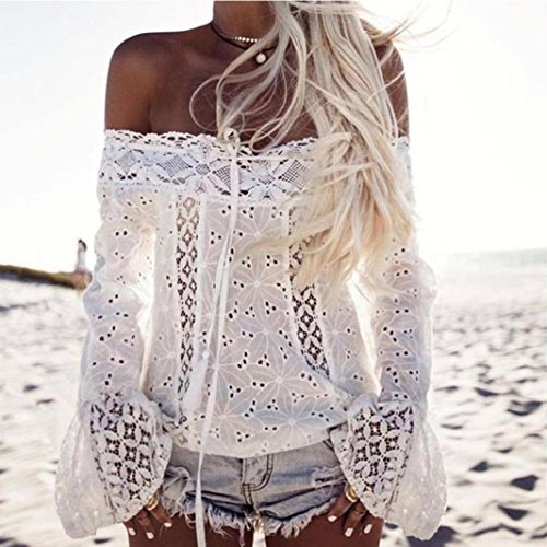 T vas Bretelles Mode Shirts Blanc Loose Dentelle Tops lgant Manches Femme Sexy sans Blouses Chemisiers Longues xR8a87q