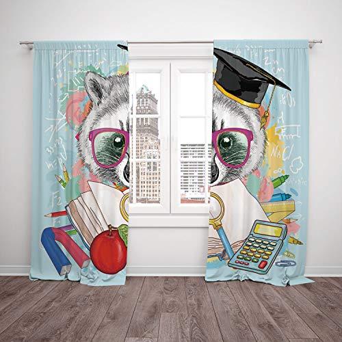 Seuss Graduation Dr Cap (SCOCICI Satin Window Drapes Kitchen Curtains [ Kids,Hipster Animal Student Raccoon Graduation Cap School Education Study Classroom Decorative,Multicolor] Bedroom Living Room Dorm Kitchen Cafe)