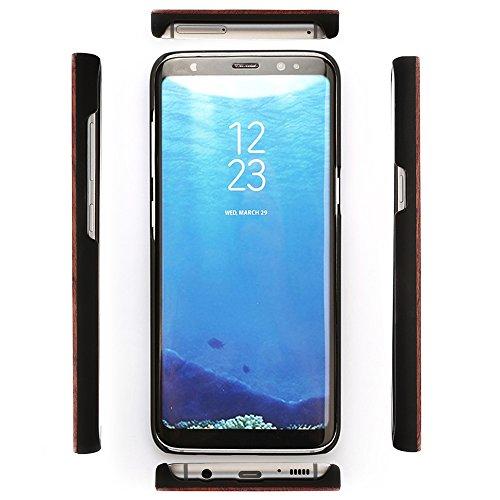 Madera Funda for Samsung Galaxy S8 Ultra Delgado Wooden Hybrid Back Cover Retro Bambú Estuche Premium Matt Lujo Hecho a mano Wood Protectora Carcasa Blackwood