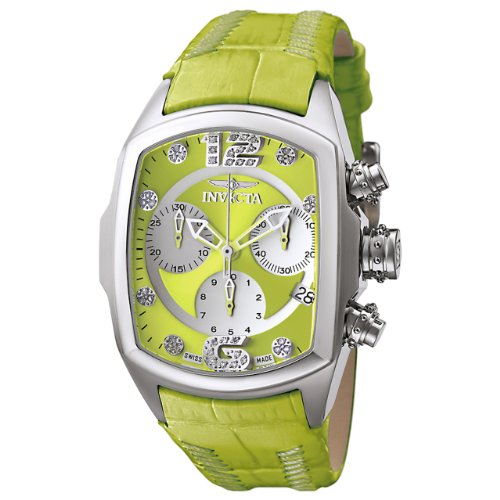 Invicta Women's 6806 Lupah Revolution Collection Chronograph Diamond Accented Lime Green Leather Watch