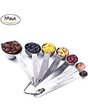 Measuring Spoons: U-Taste 18/8 Stainless Steel Measuring Spoons Set of-7 Piece: 1/8 tsp, 1/4 tsp, 1/2 tsp, 3/4 tsp, 1 tsp, 1/2 tbsp & 1 tbsp Dry and Liquid Ingredients