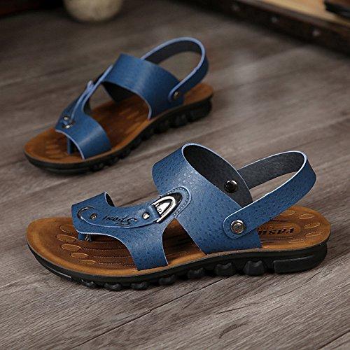 Xing Lin Sandalias De Verano Zapatos De Hombre Casual _ Verano Nuevo Sandalias De Cuero Microfibra Playa Zapatos Zapatos De Hombre Casual Hombres Marea blue