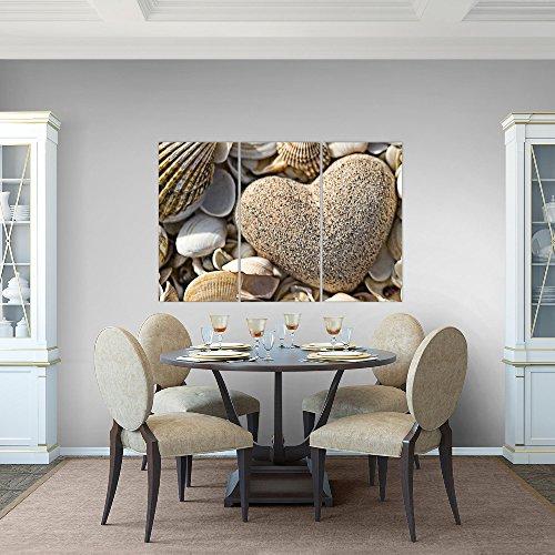 Bilder-Herz-Muscheln-Wandbild-120-x-80-cm-Vlies-Leinwand-Bild-XXL-Format-Wandbilder-Wohnzimmer-Wohnung-Deko-Kunstdrucke-Braun-3-Teilig-100-MADE-IN-GERMANY-Fertig-zum-Aufhngen-502631a