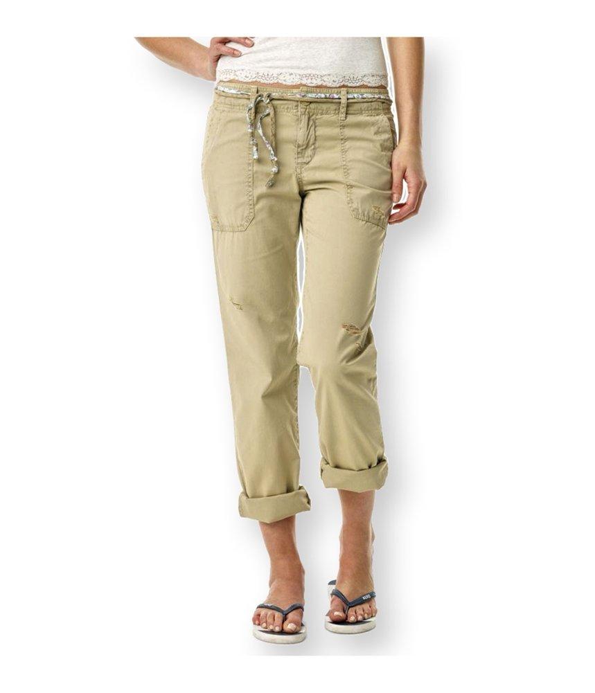 Aeropostale Womens Straight Leg Belted Casual Chino Pants Beige 0x32 - Juniors