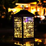 Solar Lantern Outdoor Hanging Sunwind Decorative Lanterns Metal with 30 Warm White LEDs Solar Table Lamp